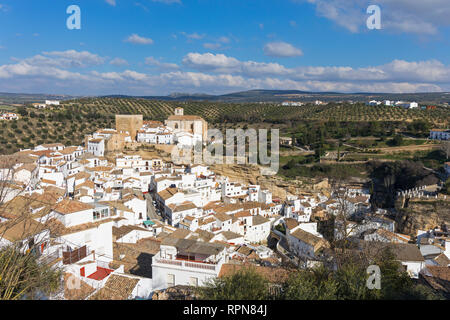 Setenil de las Bodegas, Cadiz Province, Spain.  Commonly known simply as Setenil.  Overall view.  In the centre, remains of the castle built during  t - Stock Image