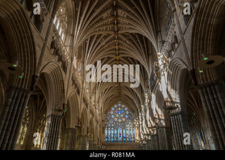 The vaulted ceiling and Great West Window in the Nave of Exeter cathedral. The longest uniterrupted gothic stone vaulted ceiling of any cathedral in t - Stock Image