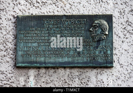 Plaque in Sopot to Jozef Rufin Wybicki who wrote the Polish National Anthem - Stock Image