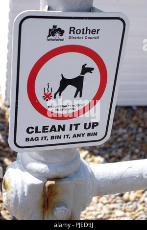 dog notice at seafront, Bexhill-on-Sea, United kingdom - Stock Image