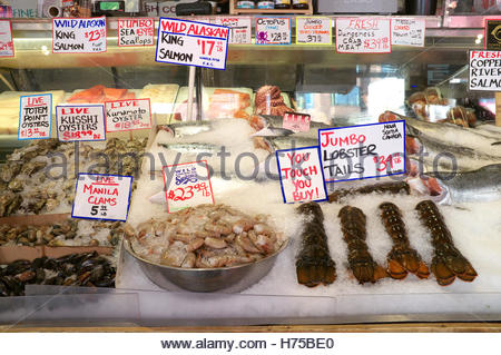 Sea food for sale - market stall at Pike Place Market, Seattle, Washington State, north west USA. - Stock Image