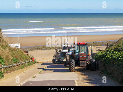 A view of the slipway leading to the beach on the North Norfolk coast at East Runton Gap, Norfolk, England, United Kingdom, Europe. - Stock Image