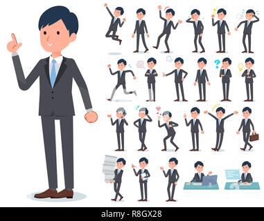 A set of businessman with who express various emotions.There are actions related to workplaces and personal computers.It's vector art so it's easy to  - Stock Image