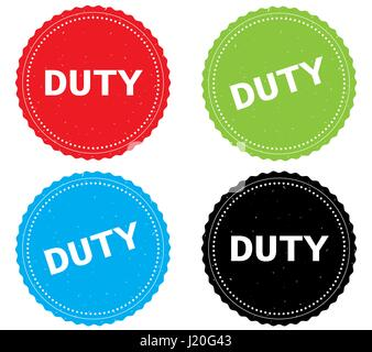 DUTY text, on round wavy border stamp badge, in color set. - Stock Image
