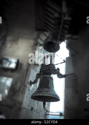 Church bell close up. Mataró, Barcelona province, Catalonia - Stock Image