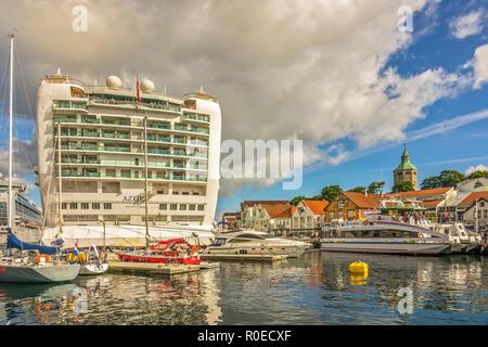 Cruise Ship Azura At Stavanger, Norway - Stock Image