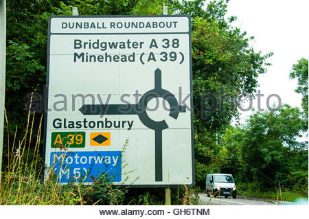 Stock photo of the Dunball Roundabout road traffic sign, showing the way to Glastonbury, Minehead, Bridgwater & - Stock Image
