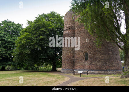 The 14th century artillery tower known as Cow Tower, on the banks of the river Wensum, Norwich, UK. - Stock Image