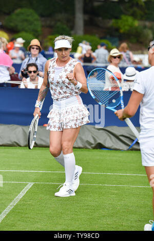 Eastbourne UK 25th June 2019 -  Bethanie Mattek-Sands of USA in action in a doubles match with partner Kirsten Flipkens at the Nature Valley International tennis tournament held at Devonshire Park in Eastbourne . Credit : Simon Dack - Stock Image