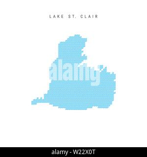 Vector Blue Wave Pattern Map of Lake St. Clair, One of the Lakes of North America. Wavy Line Pattern Silhouette of Lake St. Clair. - Stock Image