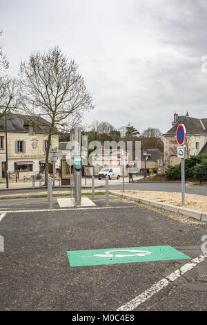 Electric car charging station at the parking lot near Château de Chinon in Chinon, Indre-et-Loire, France - Stock Image