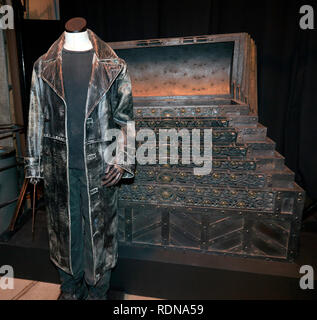 Close-up of Mad-Eye Moody's Trunk and Coat, from Harry Potter and the Goblet of Fire, Warner Brothers Studio Tour, Leavesdon - Stock Image