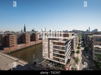 Aerial view of Speicherstad and Sandtorhafen harbour, HafenCity, Hamburg, Germany - Stock Image