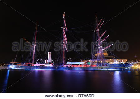 RRS Discovery by night Dundee Scotland  February 2019 - Stock Image