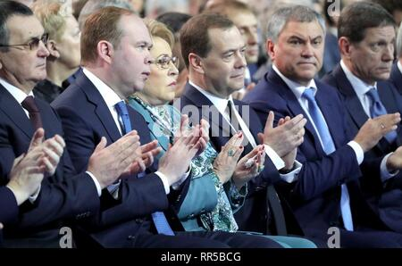Members of the Russian leadership applaud during the annual address to the Federal Assembly by President Vladimir Putin at Gostiny Dvor arcade February 20, 2019 in Moscow, Russia. Seated from left to right are: Presidential Chief of Staff Anton Vaino, Federation Council Speaker Valentina Matviyennko, Prime Minister Dmitry Medvedev, State Duma Speaker Vyacheslav Volodin and First Deputy State Duma Speaker Alexander Zhukov. - Stock Image