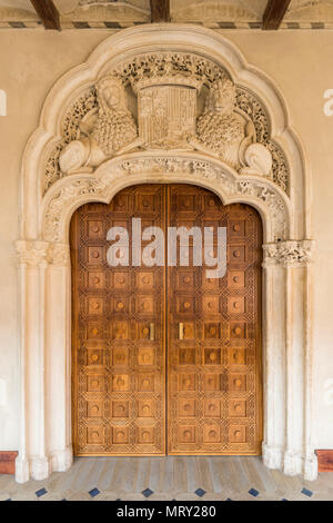 Interior door of Aljaferia palace. Zaragoza, Aragon, Spain, Europe - Stock Image