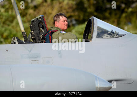 USAF pilot Richard Hess in cockpit of Norwegian Air Force Historic Flight Canadair CT-133 Silver Star, version of T-33 Shooting Star - Stock Image