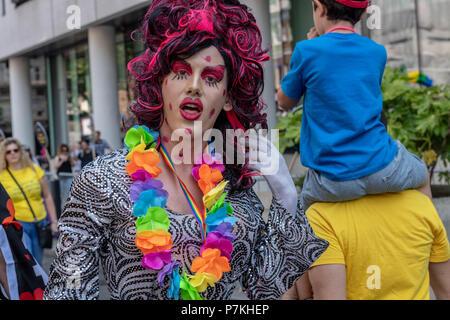 London, UK. 7th July 2018.  Pride in London Parade 2018  Credit Ian Davidson/Alamy Live News - Stock Image