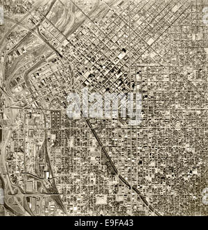 historical aerial photograph Denver, Colorado, 1964 - Stock Image
