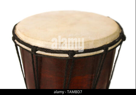 African National drum closeup on white background - Stock Image