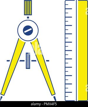 Flat design icon of Compasses and scale iin ui colors. Thin line design. Vector illustration. - Stock Image