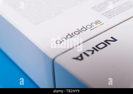 Cluj, Romania - May 13, 2019: Android One, a version of the Android operating system by Google. The Android One brand promises regular security update - Stock Image