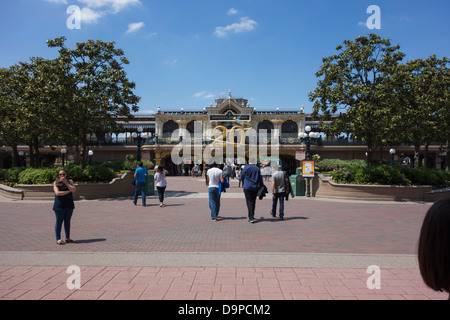 Entrance to Disneyland Paris with the 20th anniversary display. - Stock Image