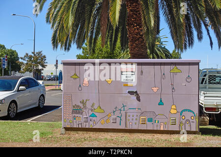 Electrical substation decorated by volunteers. Tamworth NSW Australia. - Stock Image
