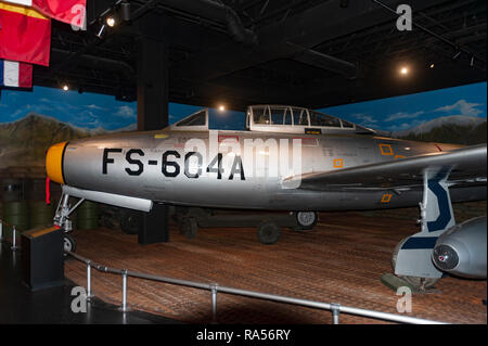 Republic F-84E Thunderjet on display at Museum of Aviation in Warner Robins, Georgia. - Stock Image
