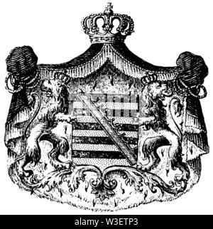Coat of arms of Saxony-Coburg-Gotha, ,  (cultural history book, 1875) - Stock Image