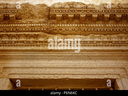 Syria. Palmyra city. Inscription in cursive Palmyrene (dialect of Aramaic, Semitic alphabet), used between 100 BC-300 BC. Sculpted in the stone. These remains were destroyed by ISIS in 2015, during the Syrian Civil War. - Stock Image