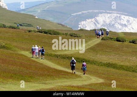 ramblers,rambling,walkers,walk,Tennyson Down, Freshwater,Compton Bay,Round the Island Yacht Race, Cowes, Isle of Wight,England, - Stock Image