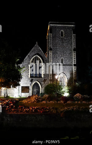 Floodlit,Holy Cross,Church,Westgate Gardens,Canterbury,Kent - Stock Image