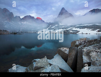 Misty landscape in the Dusy Basin of Kings Canyon National Park, Sierra Nevada, California, July 2010. - Stock Image