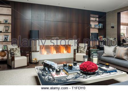 Lit fire in modern living room - Stock Image