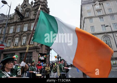 The Irish Tricolour On St.Patrick's Day, Liverpool. - Stock Image