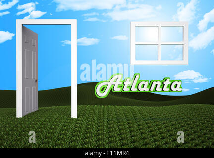 Atlanta Property Doorway Shows Real Estate Residential Buying. Home Ownership In The United States 3d Illustration - Stock Image
