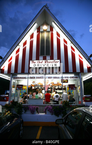 Red Rooster Drive-In at dusk, Brewster, NY, USA - Stock Image