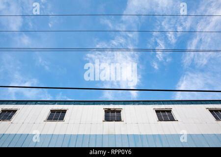 Warehouse and Power Lines, Seattle, Washington - Stock Image