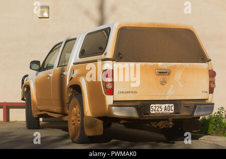 A Holden Colorado car covered in dust on Kangaroo Island in South Australia, Australia. - Stock Image
