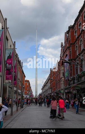 The Spire, Dublin, aka The Monument of Light, aka An Túr Solais, O'Connell Street, as seen from Henry Street Street,, Ireland - Stock Image