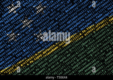 Solomon Islands flag  is depicted on the screen with the program code. The concept of modern technology and site development. - Stock Image