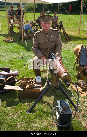 World War One living history reenactors with machine gun at Hay-on-Wye Powys Wales UK - Stock Image