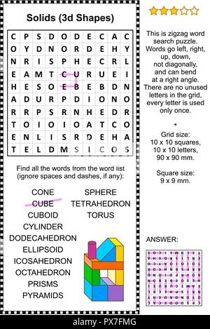 Solids, or 3d shapes, themed zigzag word search puzzle (suitable both for kids and adults). Answer included. - Stock Image