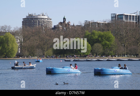 Boating on The Serpentine Hyde Park London - Stock Image