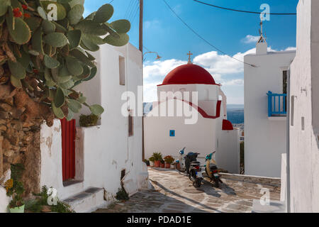 Typical Greek white Church on island Mykonos, Greece - Stock Image