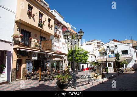 Popular Spanish Tapas bar/cafe, Taberna Las Meijas,  and Salon Varieties Theater, in the Plaza Braille, Fuengirola, Costa del Sol, Spain - Stock Image