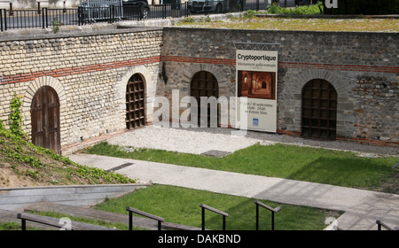 The Cryptoportique Roman Monument, Place du Forum, Reims, Marne, Champagne-Ardennes, France. - Stock Image