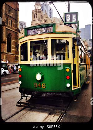 Melbourne vintage tram on the city circle route going along Flinders street - Stock Image