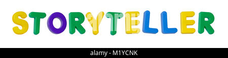 The word 'storyteller' made up from coloured plastic letters - Stock Image